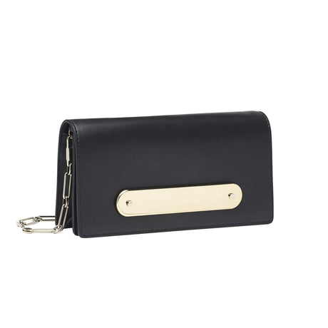Candy Bar Leather in black leather with removable silver chain crossbody strap.