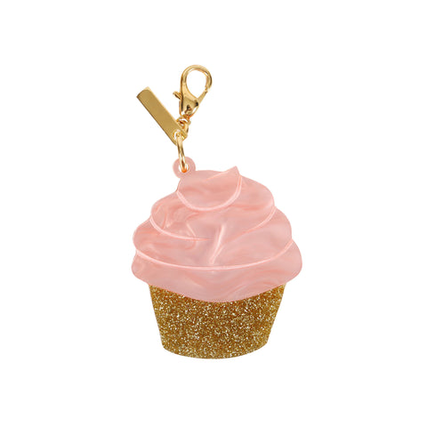 Edie Parker Pink Pearlescent Swirling Cupcake Handbag Charm Keychain Gold Hardware Front View