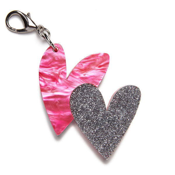 Edie Parker Handbag Charm Pink Pearlescent Heart Double Silver Glitter Hearts Clip