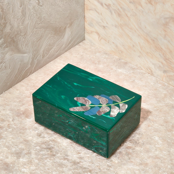 Leaf Stash Box in Malachite