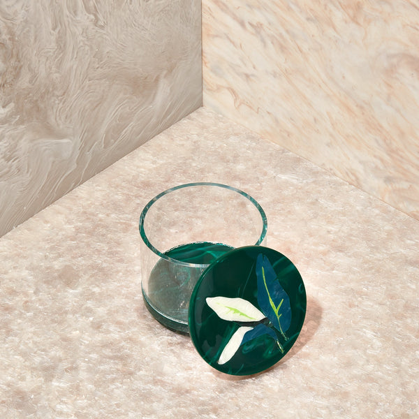 Leaf Medium Stash Jar in Malachite
