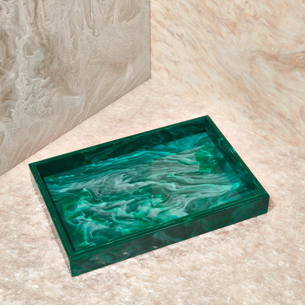 Vanity Tray in Malachite Marble