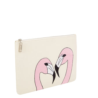 Edie Parker Canvas Embroidered Flamingo Handbag Pouch