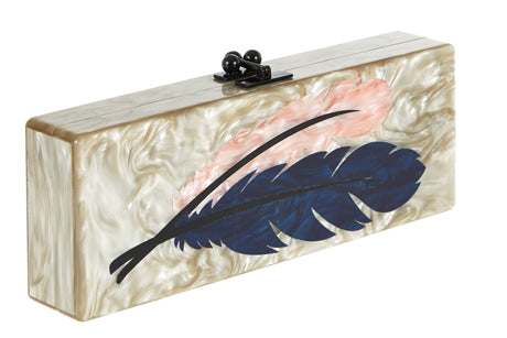 Edie Parker Flavia Feathers Handbag Clutch Taupe Pearlescent Multi