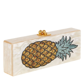 Edie Parker Pineapple Nude Pearlescent Gold Confetti Fruit Handbag Clutch
