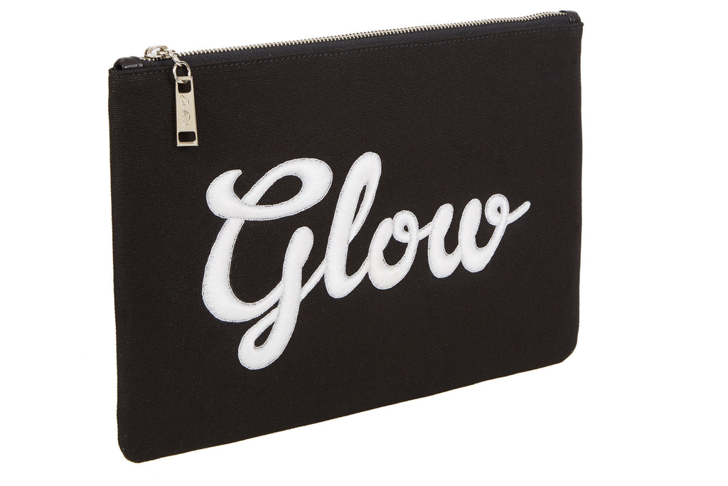 Edie Parker Canvas Black Embroidered Glow-In-The-Dark Cursive Text