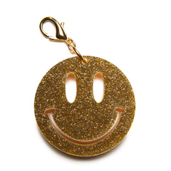 Edie Parker Happy Face Yellow Pearlescent Handbag Charm Keychain Gold Glitter Face