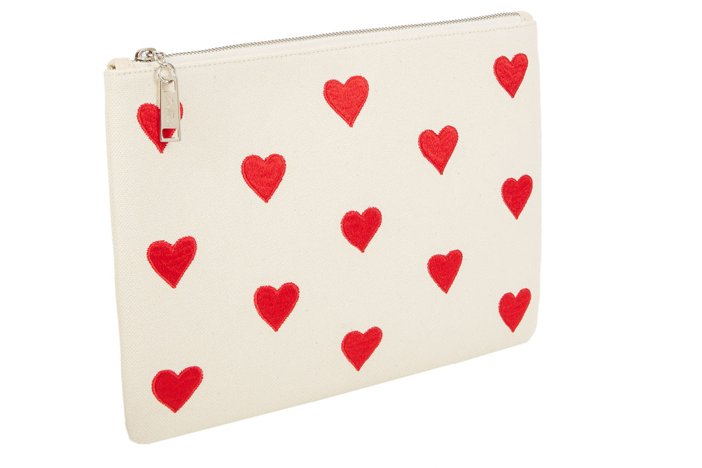 Edie Parker Canvas Red Heart Embroidered Clutch Pouch