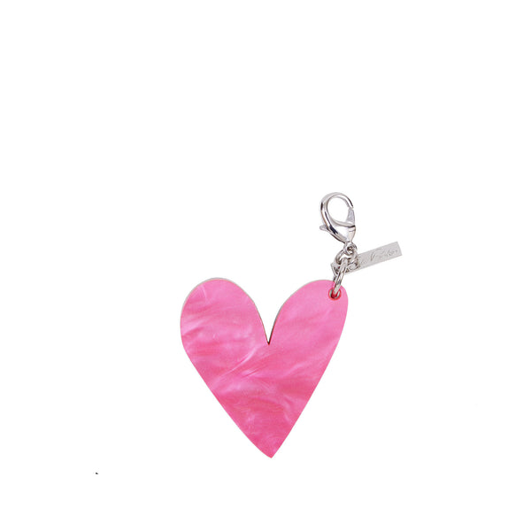Edie Parker Heart Shape Handbag Charm Keychain Pink Pearlescent Silver Glitter