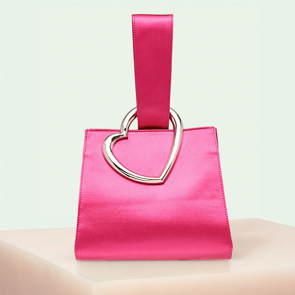 320bce6bb4f9 Edie Parker Heart Wristlet designer handbag in Hot Pink Satin with loop top  handle and gold