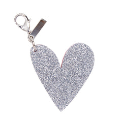 Edie Parker Heart Shape Handbag Charm Keychain Pink Pearlescent Silver Glitter Back View