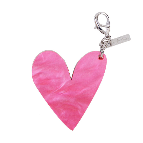 Edie Parker Heart Shape Handbag Charm Keychain Pink Pearlescent Silver Glitter Front View
