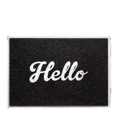 Edie Parker Acrylic Hello Tray Starlight Black Cursive White Text Top View