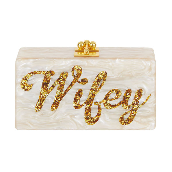 Edie Parker Jean Wifey Evening Bag Clutch Nude Pearl Gold Confetti Script Text Front View
