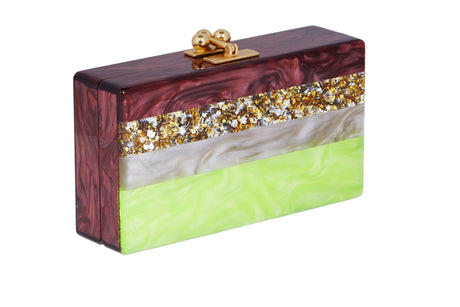 Edie Parker Jean Banded Handbag Clutch Raisin Pearlescent Acid Yellow Multi