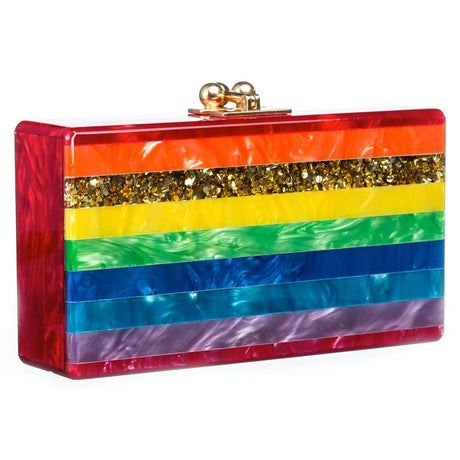 Edie Parker Jean Striped Rainbow Clutch with Gold Hardware feature