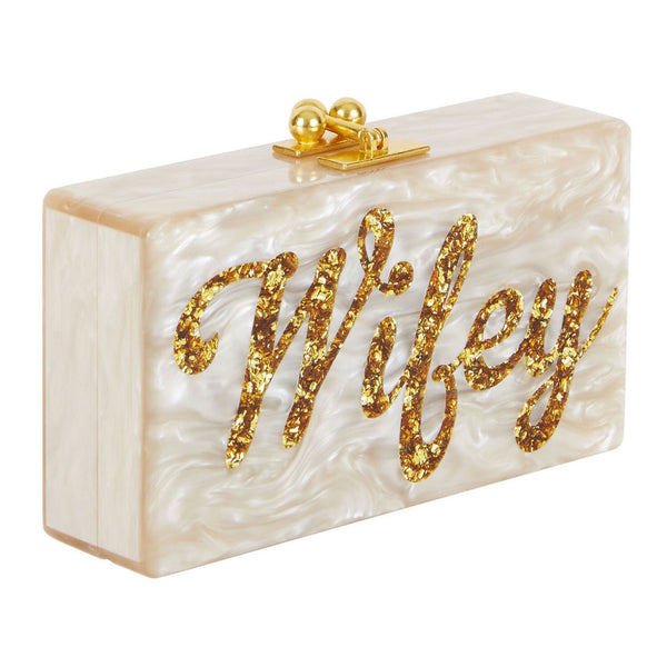 Edie Parker Jean Wifey Evening Bag Clutch Nude Pearl Gold Confetti Script Text