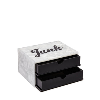 Edie Parker Junk Jewelry Box White Pearlescent Black Obsidian Drawers Cursive Acrylic Text