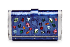 Edie Parker Crystal Embellished Jewelie Lara Handbag Clutch Blue Violet Pearlescent Front View