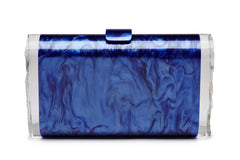 Edie Parker Crystal Embellished Jewelie Lara Handbag Clutch Blue Violet Pearlescent Back View