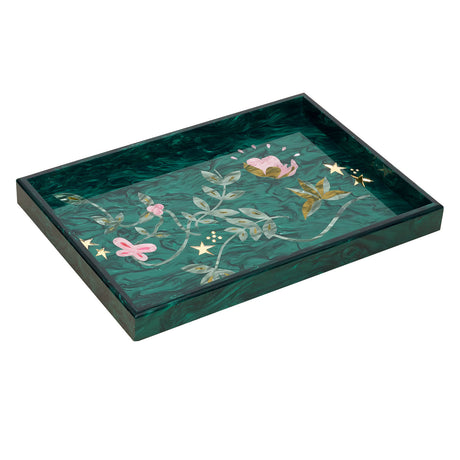 Edie Parker designer home Large Tray Vines in emerald with multi colored inlays.