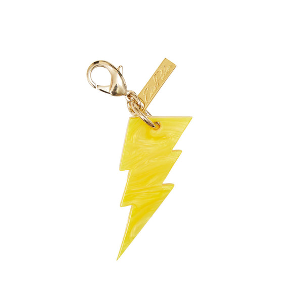 Edie Parker Yellow Pearlescent Lightning Handbag Charm Glow Front