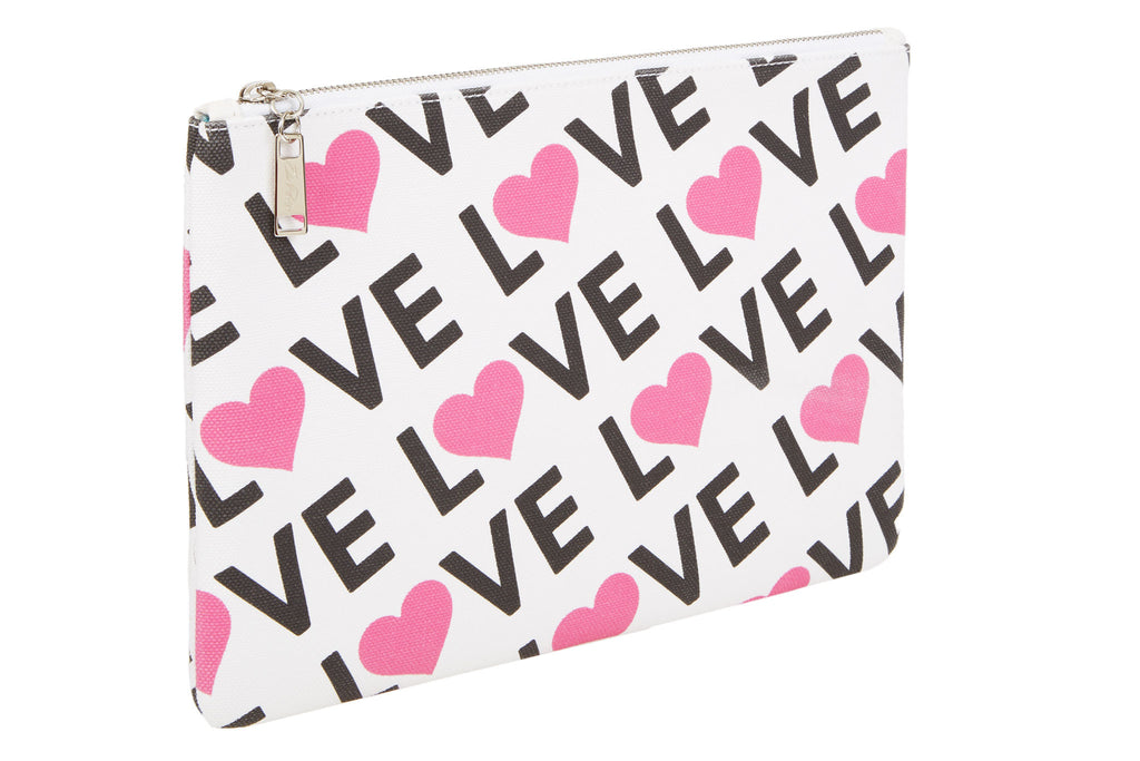 Edie Parker Canvas Printed Love Pouch Handbag Clutch Pink Heart