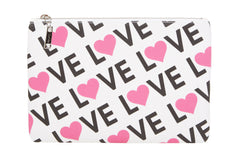 Edie Parker Canvas Printed Love Pouch Handbag Clutch Pink Heart Front View