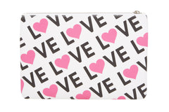 Edie Parker Canvas Printed Love Pouch Handbag Clutch Pink Heart Back View