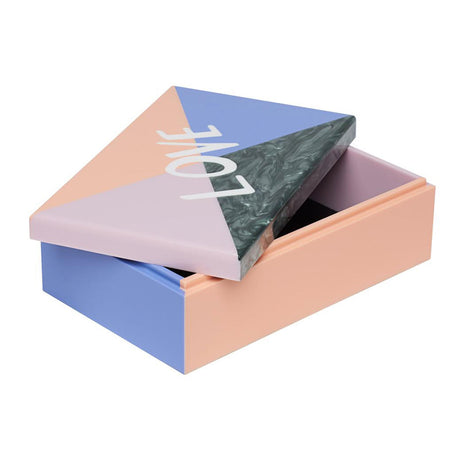 Edie Parker designer home Love Colorblock Box in lavender, nude, heather, and grey pearlescent, with white LOVE text on lid with contrasting interior.