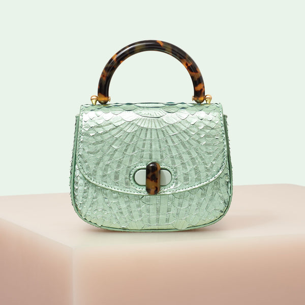5688a1df8eb7 Edie Parker designer handbag Mini Top Handle in mint green painted python  skin flat top with