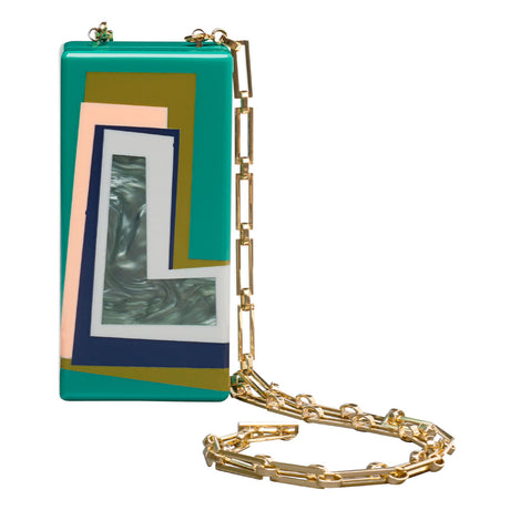 a, Edie Parker designer clutch handbag. Minnie Letter in teal with multi colored inlays, magnetic tab closure, and light gold chain.