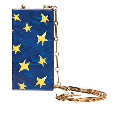 Edie Parker designer Minnie Stars in Sapphire Pearlescent clutch handbag with yellow inlays, magnetic tab closure, and light gold chain.