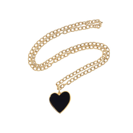 black, Small Heart Necklace with acrylic heart in authentic gold plated sterling silver setting.