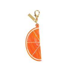 Edie Parker Orange Slice Handbag Charm Gold Hardware Keychain Front View