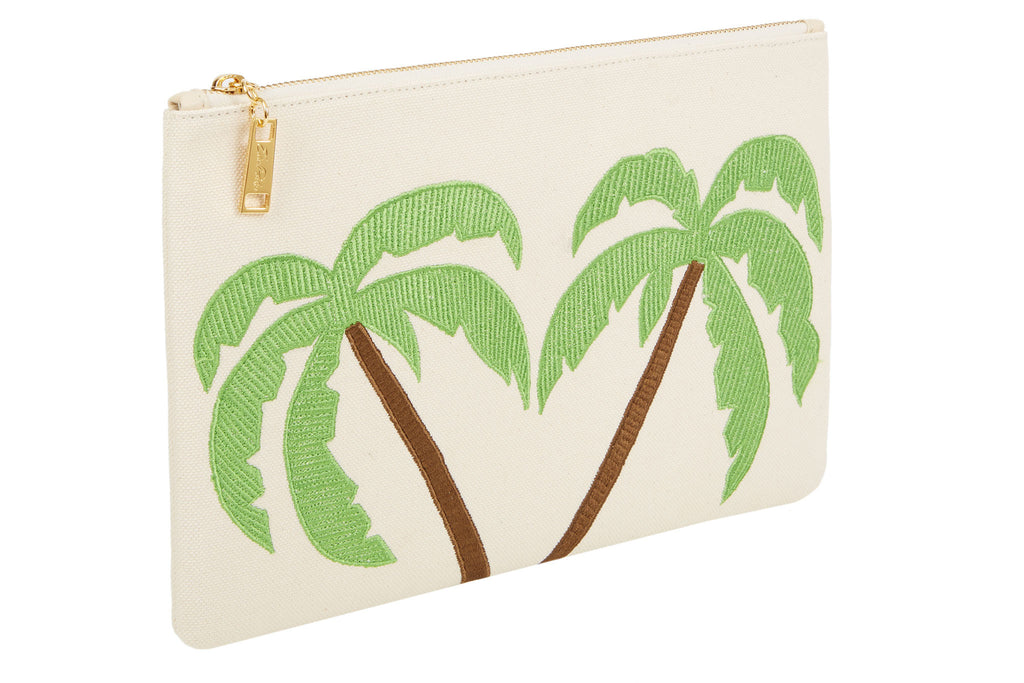 Edie Parker Canvas Embroidered Green Palm Tree Pouch Clutch