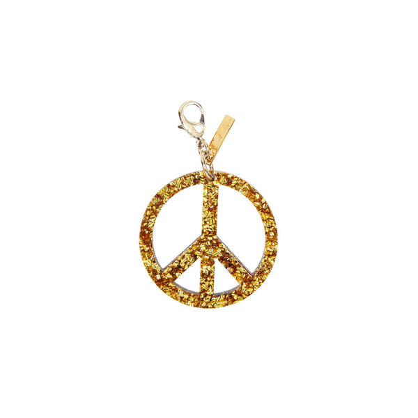 Edie Parker Peace Sign Handbag Charm Gold Confetti Drop Silver Hardware