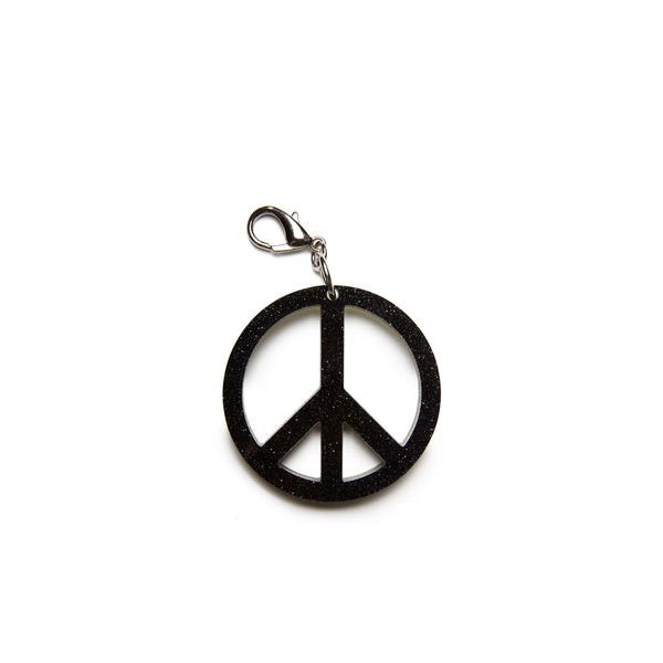 Edie Parker Starlight Peace Sign Handbag Charm Glow-in-the-dark Double Sided