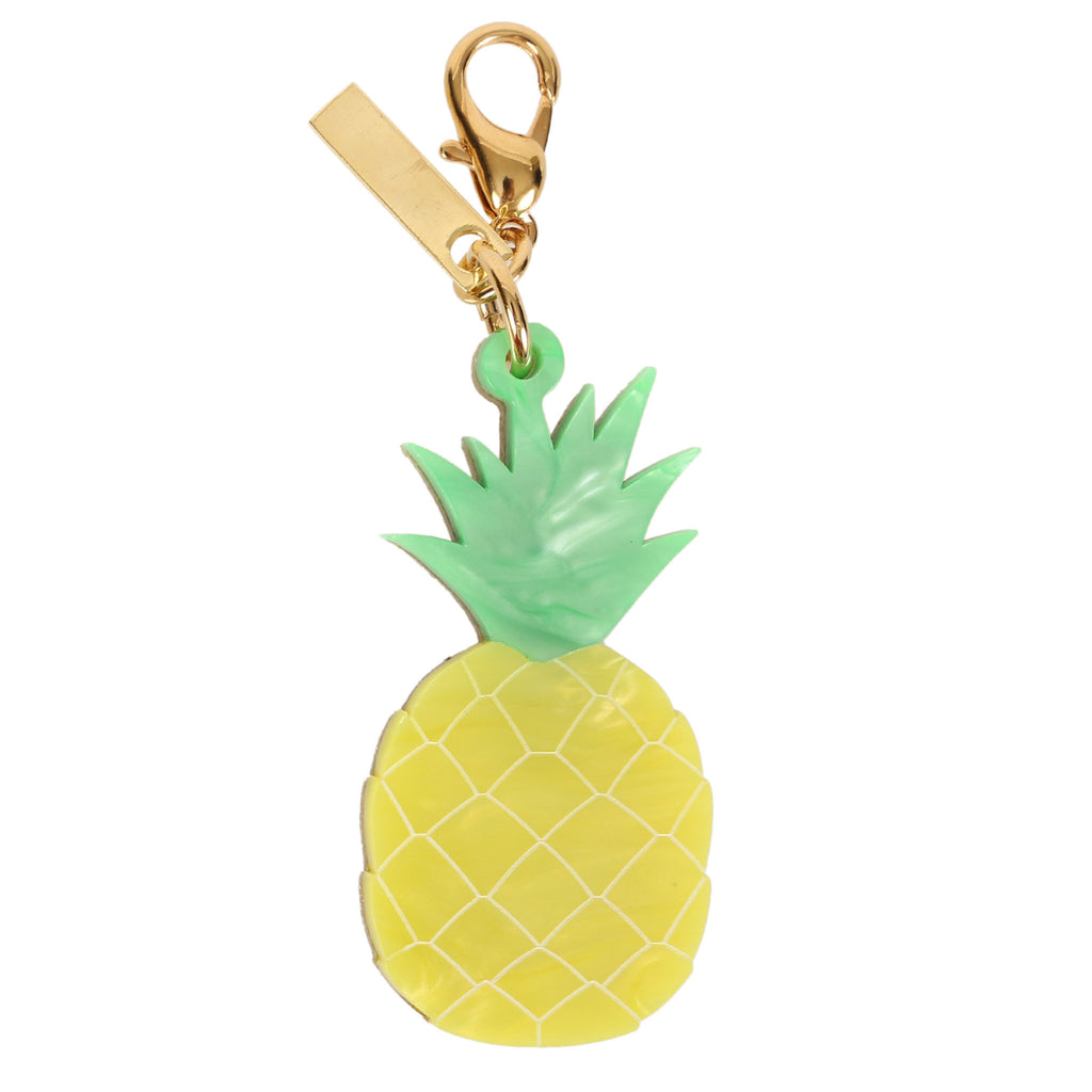 Edie Parker Yellow Pineapple Green Stem Handbag Charm Gold Hardware Keychain Front View