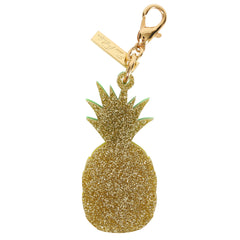 Edie Parker Yellow Pineapple Green Stem Handbag Charm Gold Hardware Keychain Back View