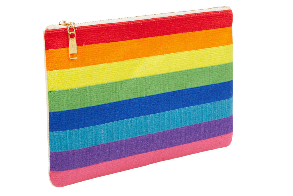 Edie Parker Canvas Embroidered Multi Color Rainbow Striped Pouch Clutch