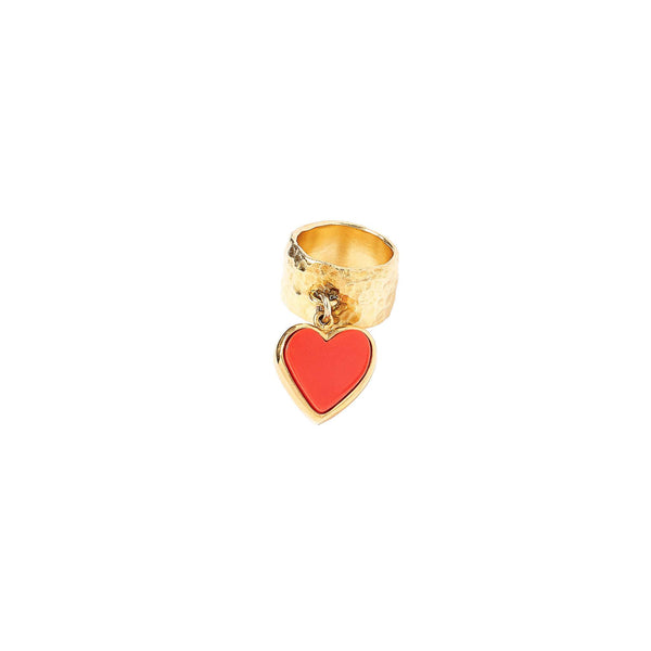 size-5, Single Heart Ring in gold plated sterling silver with red acrylic heart.