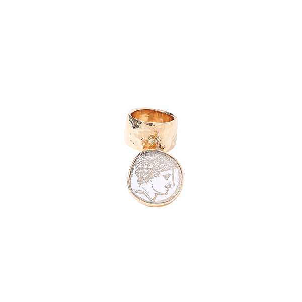 size-5, Single Coin Ring in gold plated sterling silver with white silver roman coin.