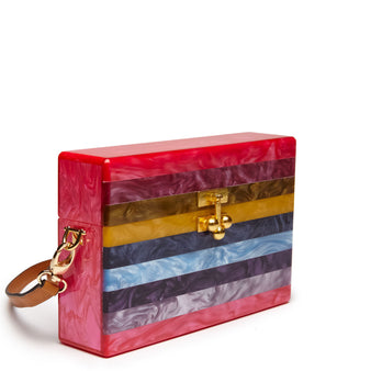 Edie Parker Small Trunk Fuchsia Striped Rainbow Crossbody Handbag Brown Leather Strap