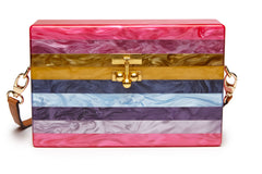 Edie Parker Small Trunk Fuchsia Striped Rainbow Crossbody Handbag Brown Leather Strap Front View