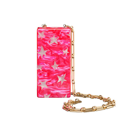 Edie Parker designer Minnie Stars in Hot Pink Pearlescent clutch handbag with rose quartz inlays, magnetic tab closure, and light gold chain.