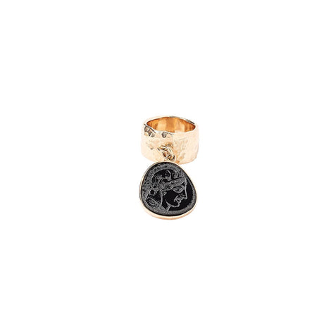 size-5, Single Coin Ring in gold plated sterling silver with black roman coin.