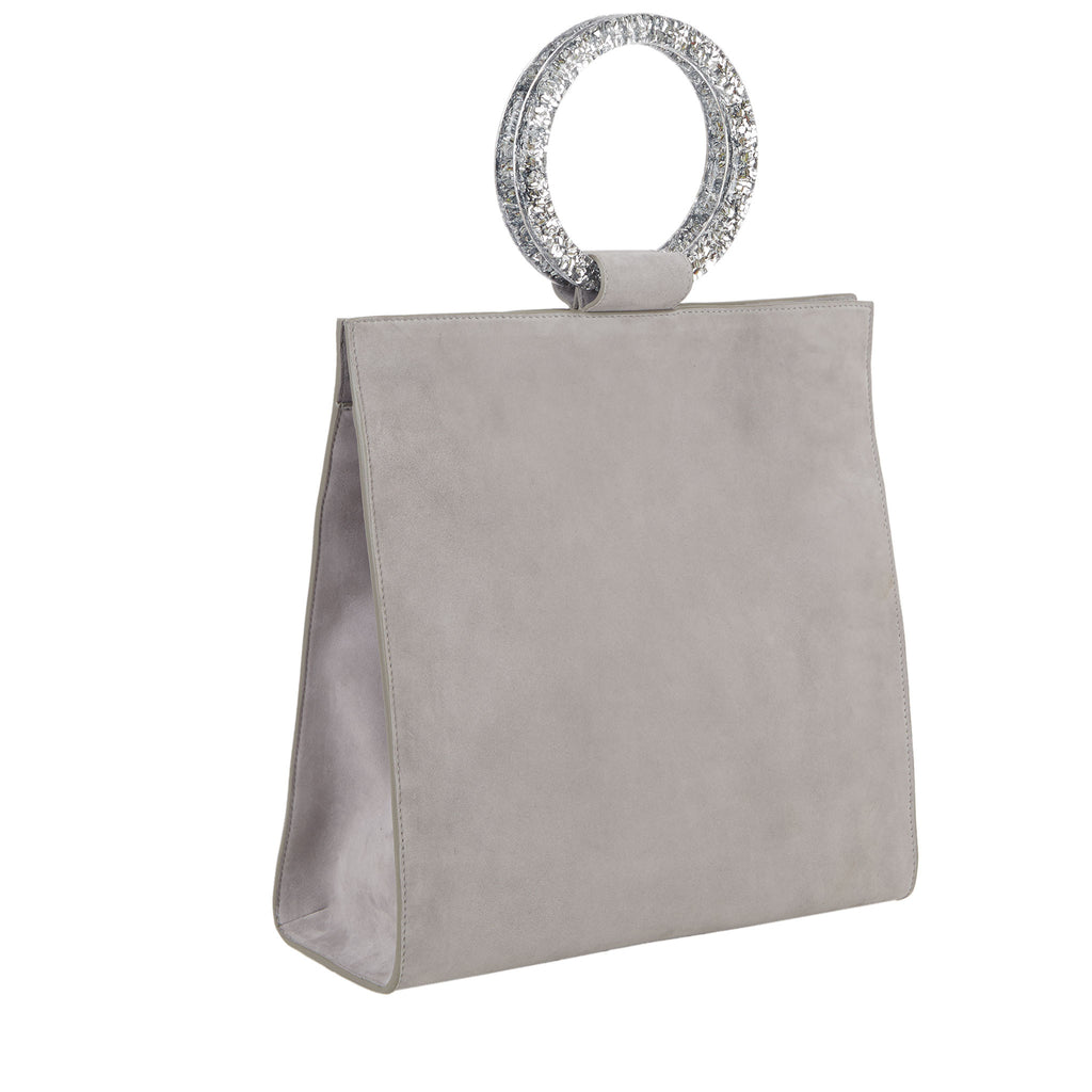 Edie Parker Aces Suede Gray Handbag Crossbody with Silver Confetti Top Handles and Leather Strap Interior Floral Lining Angled Image