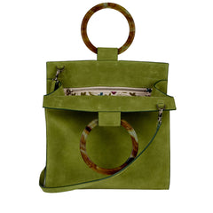 Edie Parker Aces Suede Moss Handbag Crossbody with Marbled Moss Green Top Handles and Suede Strap Interior Floral Lining