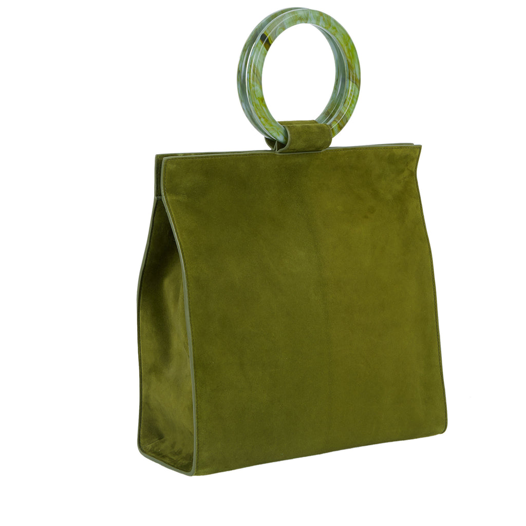 Edie Parker Aces Suede Moss Handbag Crossbody with Marbled Moss Green Top Handles and Suede Strap Angled View